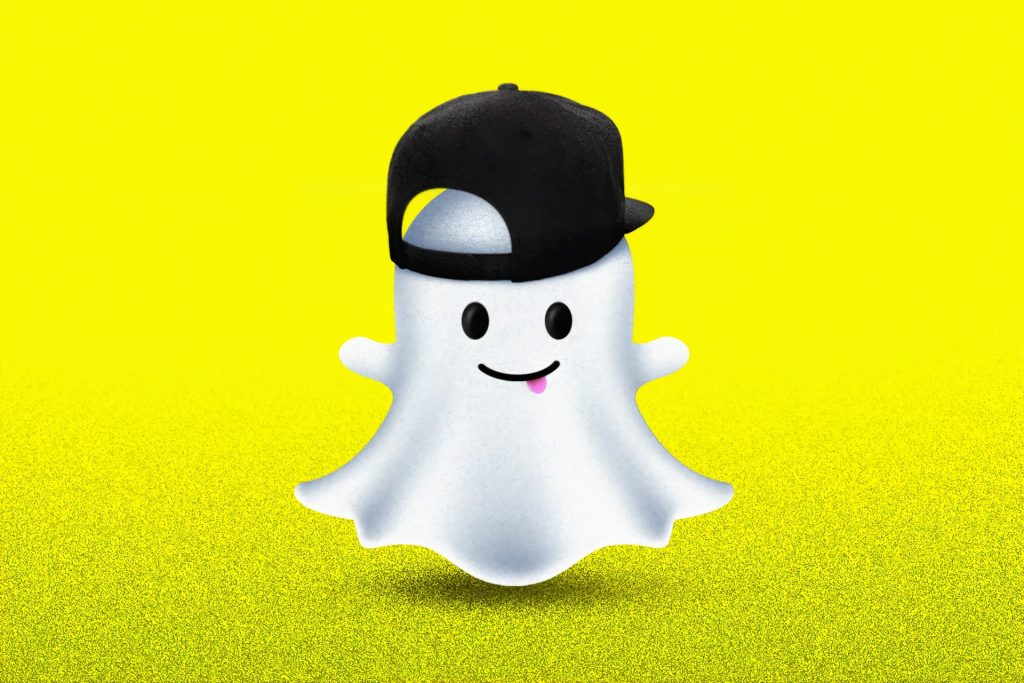 A photo of Snapchat ghost wearing a black cap for how to get Snapstreaks back