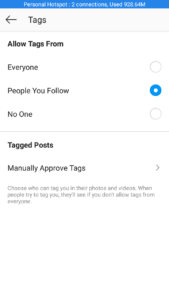Instagram tags setting